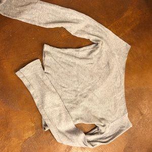 Grey ribbed off the shoulder brandy Melville top